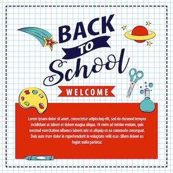 Voltar para a escola com ilustração de elementos de escola