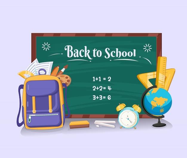 Voltar para a escola com lousa, bolsa, régua de lápis, caneta, pincel, tonalidade, relógio e globo design plano