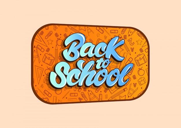 Voltar para a escola comemorar no estilo de letras