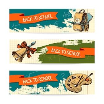 Voltar para a escola de desenho vetorial. banners vintage desenhados à mão