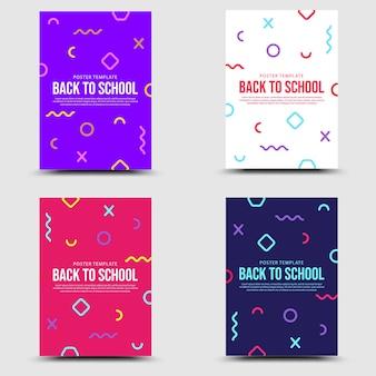Voltar para a escola definir o estilo de banner memphis