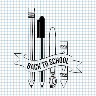 Voltar para a escola doodle coisas de elementos de escola para escrever sobre uma ilustração de papel de caderno