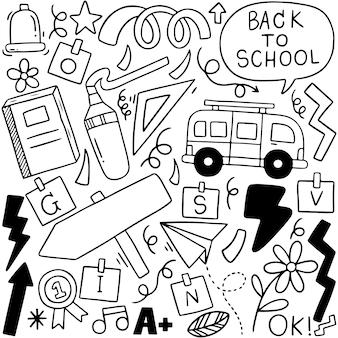 Voltar para a escola doodle composição de elementos