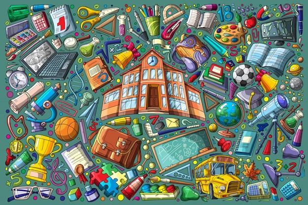 Voltar para a escola doodle definir ilustração vetorial