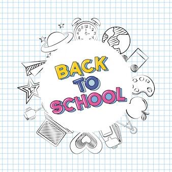 Voltar para a escola doodle elementos da escola sobre uma folha de caderno