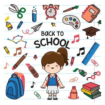 Voltar para a escola doodle fundo