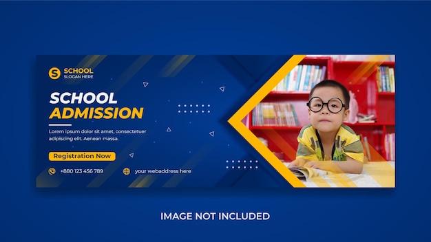 Voltar para a escola, educação, mídia social, banner da web de capa do facebook