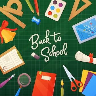 Voltar para a escola, elementos de desenho animado na tabela: papel, régua, sino, lápis, tinta, caderno, lavagem, lupa.