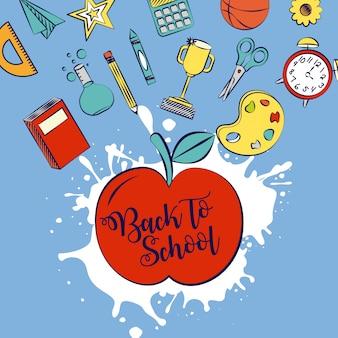 Voltar para a escola em um aplee com ilustração de elementos de escola