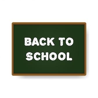 Voltar para a escola em um conselho escolar verde.