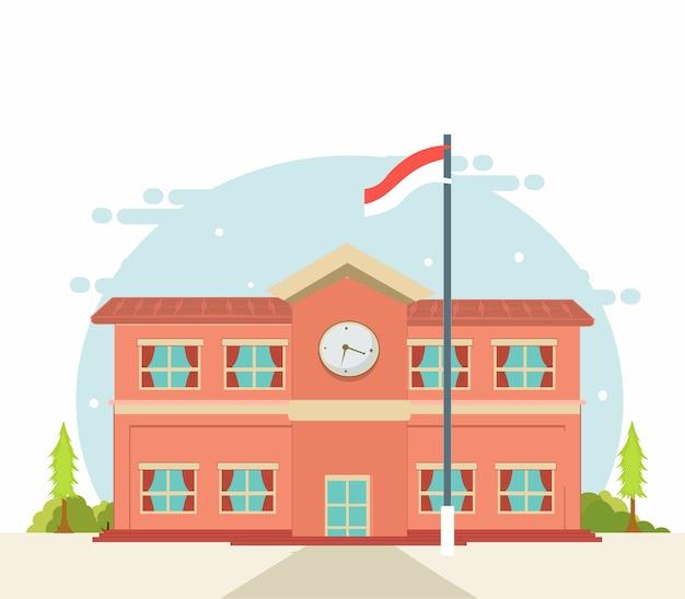 Voltar para a escola, escola edifício design plano