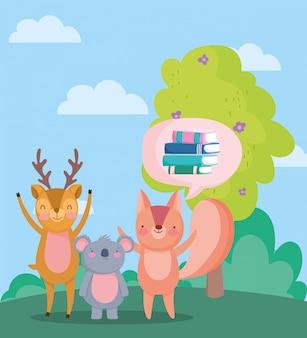 Voltar para a escola, esquilo coala veado livros bolha árvore ao ar livre dos desenhos animados