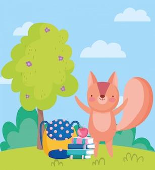 Voltar para a escola, esquilo livros mochila e maçã
