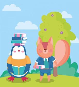 Voltar para a escola, esquilo pinguim com livros na cabeça ao ar livre