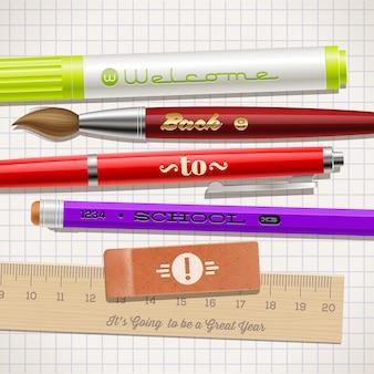 Voltar para a escola - ilustração com artigos de papelaria.
