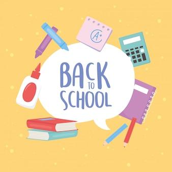 Voltar para a escola, livros notebook cola calculadora lápis educação desenhos animados