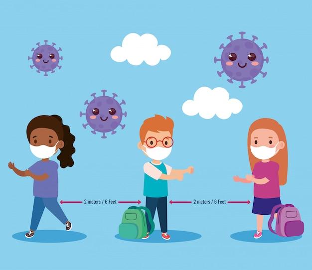 Voltar para a escola para o novo conceito de estilo de vida normal, crianças vestindo máscara médica e distanciamento social