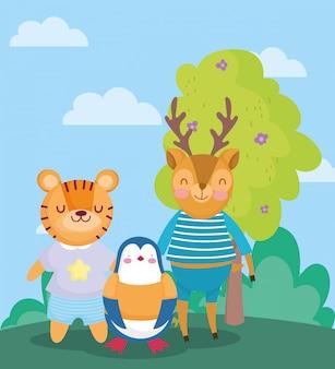 Voltar para a escola, pinguim tigre cervo com roupas ao ar livre