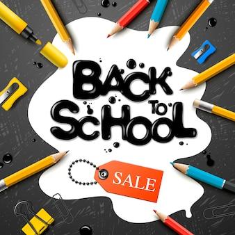 Voltar para a escola projeto de venda com lápis e letras de tipografia. ilustração de escola para cartaz, web, capa, anúncio, saudação, cartão, mídia social, promoção.