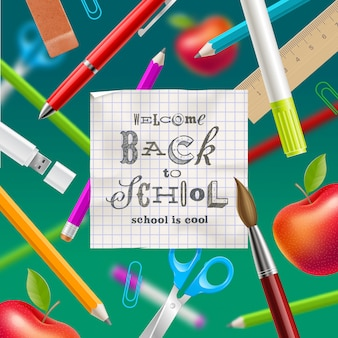 Voltar para a escola - saudação ilustração com letras de mão desenhada e artigos de papelaria