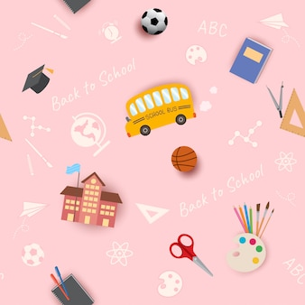 Voltar para a escola sem costura padrão rosa