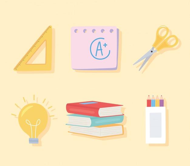 Voltar para a escola, tesoura livros régua lápis cor ícones educação desenho animado fundo