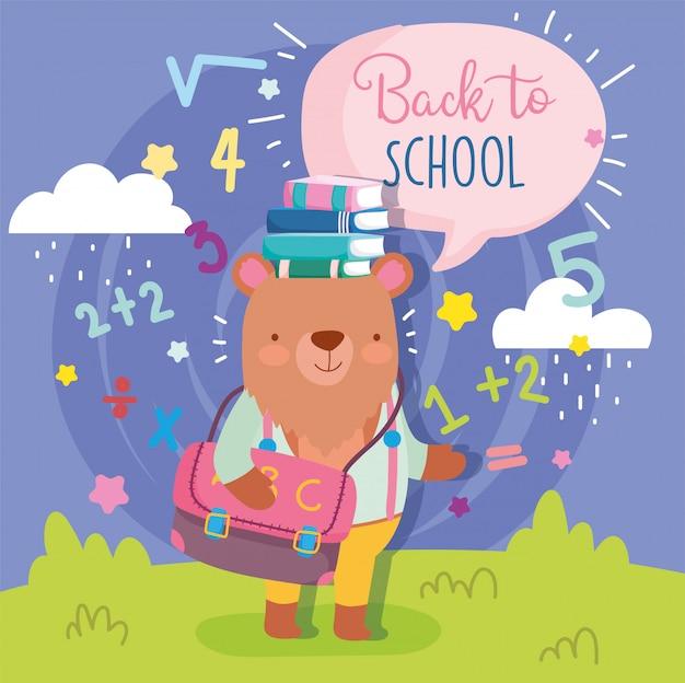 Voltar para a escola urso fofo com saco livros educação
