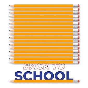 Voltar para a ilustração criativa da escola com texto e lápis realistas. projeto