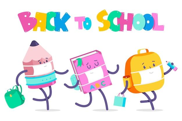 Voltar para a ilustração de conceito de desenho animado de vetor de escola com personagens de acessórios de crianças na máscara facial.