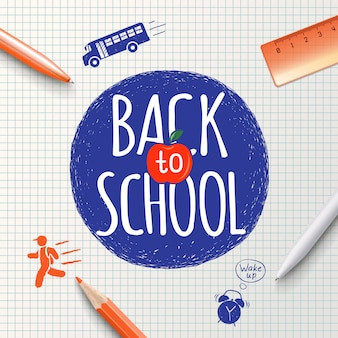 Voltar para a inscrição da escola no fundo de artigos de papelaria escolar e ícones desenhados à mão. volta ao cartaz da escola, fundo de educação