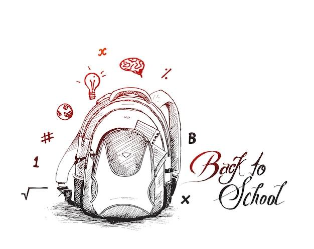 Voltar para a mochila da escola rabiscos de fundo de vetor de esboço desenhado à mão