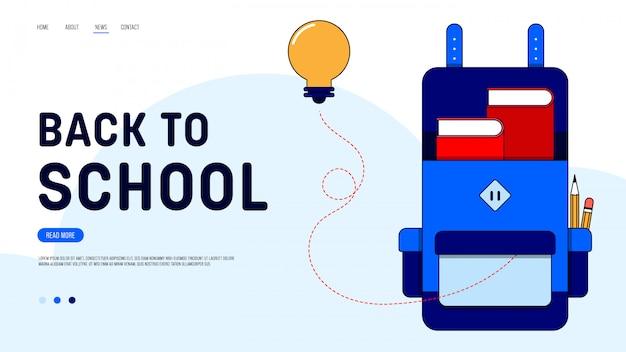 Voltar para a página inicial da escola modelo de design de site decorativo com mochila e lâmpada