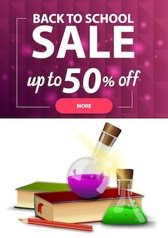 Voltar para a venda de escola, banner de desconto vertical web para o seu site com textura poligonal, livros e frascos de produtos químicos