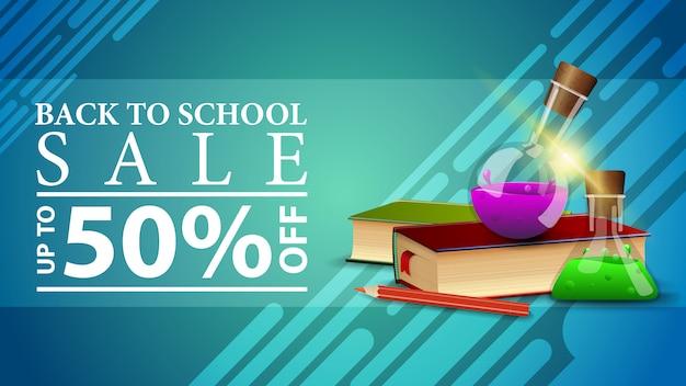 Voltar para a venda de escola, banner de web de desconto em um estilo moderno, com livros e frascos de produtos químicos