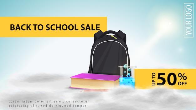 Voltar para a venda de escola, banner de web de desconto luz para o seu site com mochila escolar