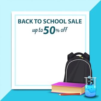 Voltar para a venda de escola, modelo para banner de desconto na forma de uma folha de papel