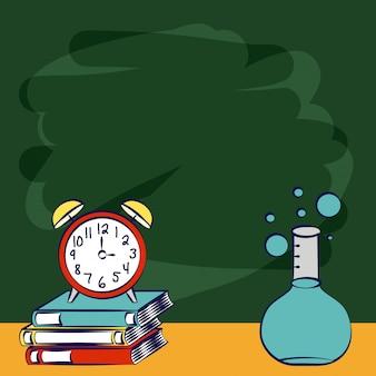 Voltar para livros escolares, uma ilustração de objetos de escola de química de relógio