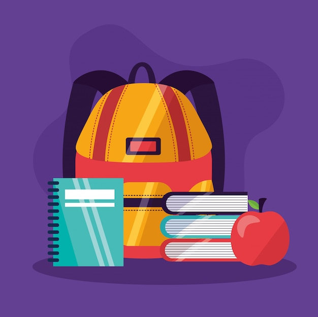 Voltar para material escolar em estilo simples