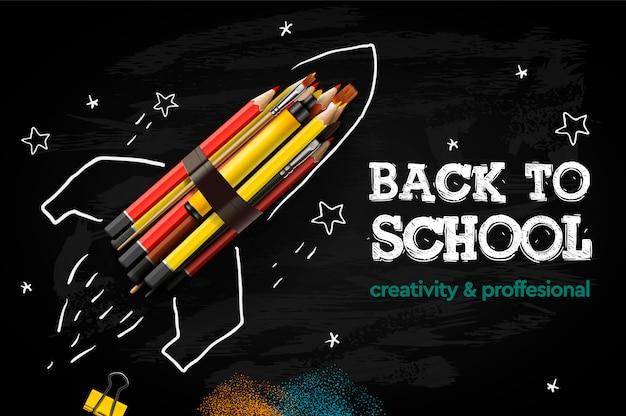 Voltar para o banner criativo da escola. lançamento de foguete com lápis - esboço no quadro-negro, ilustração.