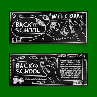 Voltar para o banner da escola desenhar tema de quadro-negro