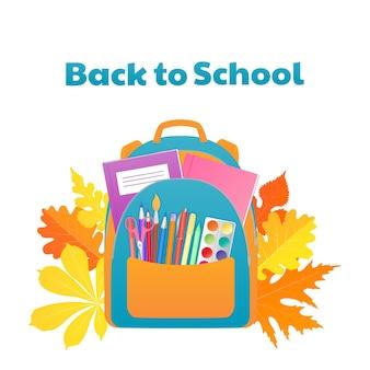 Voltar para o banner da escola, mochila com material de estudo, artigos de papelaria.
