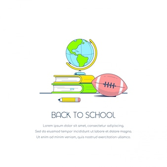 Voltar para o banner do conceito de escola. ilustração do estilo simples.