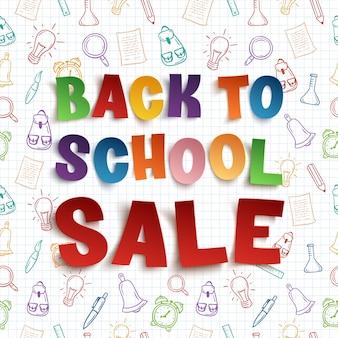 Voltar para o fundo de venda de escola em papel quadriculado com ferramentas escolares de mão desenhada. ilustração.