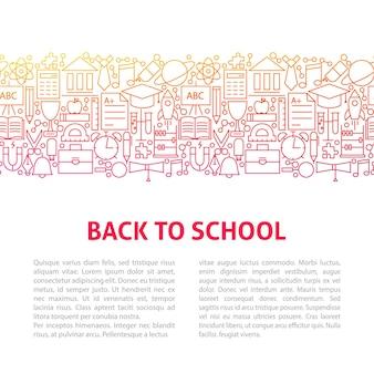 Voltar para o modelo de design de linha de escola. ilustração em vetor de banner de contorno.