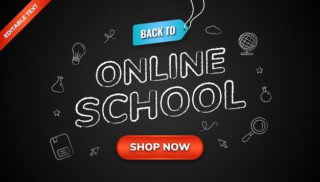 Voltar para o plano de fundo da escola online com efeito de texto editável e estilo de giz de ícone no quadro negro.