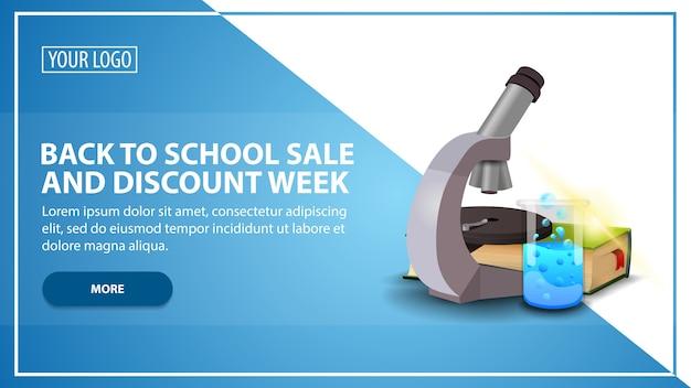 Voltar para venda de escola e semana de desconto, desconto modelo de banner da web para o seu site em um estilo moderno com microscópio