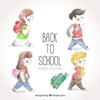 Volte para aquarela crianças com mochila