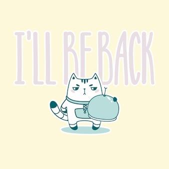 Volto letras com gato engraçado astronauta