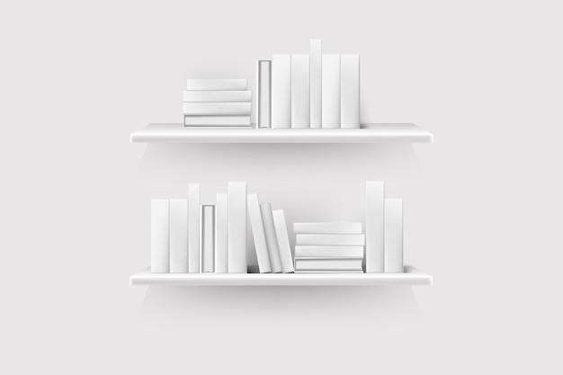Volumes de livros realistas com lombadas vazias e potes enfileirados na prateleira pendurados na parede.