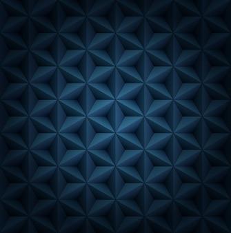 Volumétrico poligonal estrela azulejos azul escuro padrão luxuoso com vinheta.